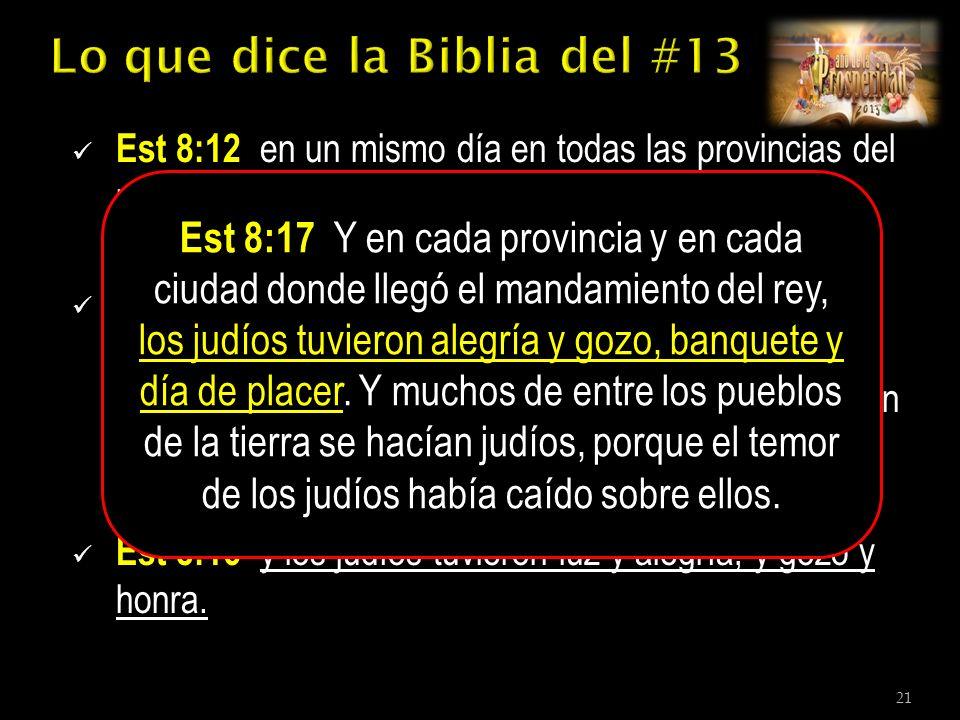 Est 8:12 en un mismo día en todas las provincias del rey Asuero, en el día trece del mes duodécimo, que es el mes de Adar.