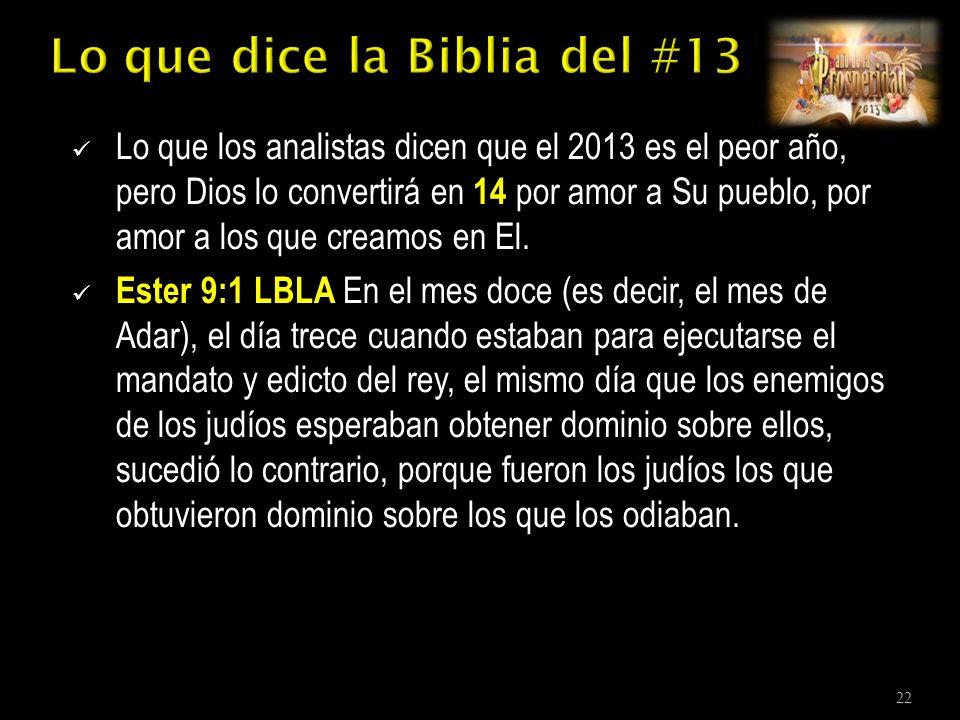 Lo que los analistas dicen que el 2013 es el peor año, pero Dios lo convertirá en 14 por amor a Su pueblo, por amor a los que creamos en El.