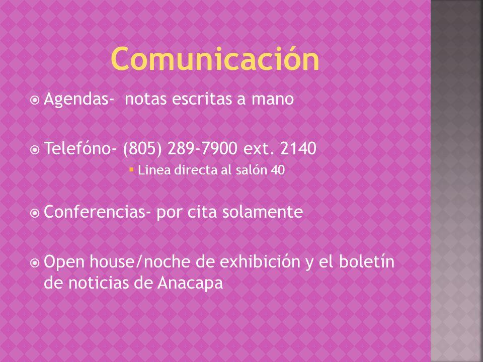 Agendas- notas escritas a mano Telefóno- (805) 289-7900 ext.