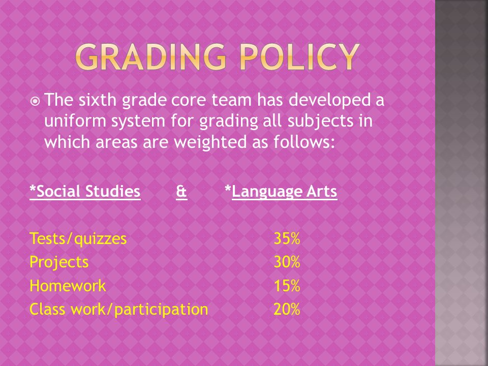 The sixth grade core team has developed a uniform system for grading all subjects in which areas are weighted as follows: *Social Studies&*Language Arts Tests/quizzes35% Projects30% Homework 15% Class work/participation20%
