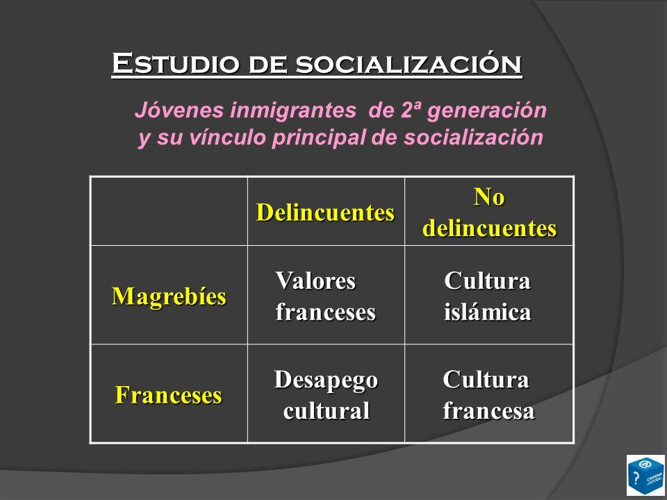 Estudio de socialización Delincuentes No delincuentes Magrebíes Valores franceses Cultura islámica Franceses Desapego cultural Cultura francesa Jóvene