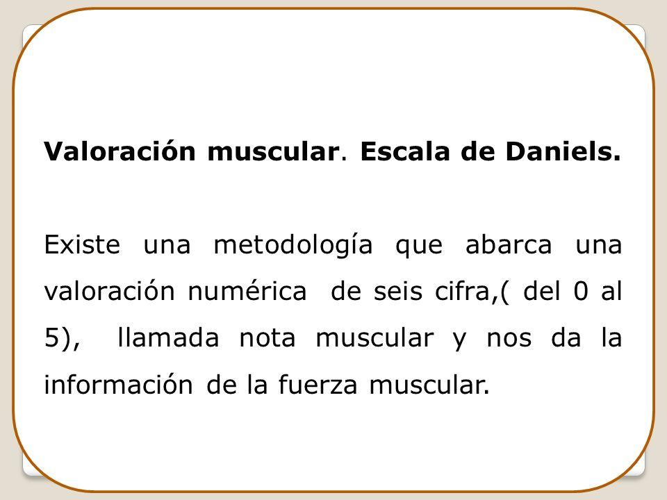 Valoración muscular. Escala de Daniels. Existe una metodología que abarca una valoración numérica de seis cifra,( del 0 al 5), llamada nota muscular y