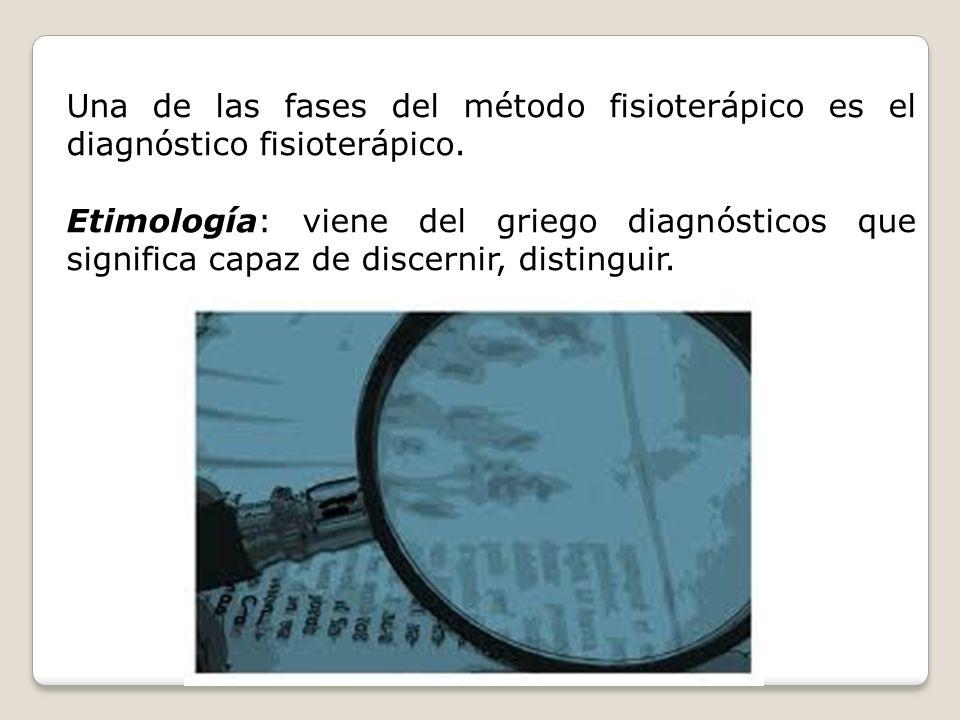 Una de las fases del método fisioterápico es el diagnóstico fisioterápico. Etimología: viene del griego diagnósticos que significa capaz de discernir,
