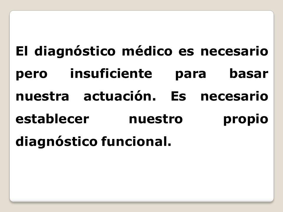 El diagnóstico médico es necesario pero insuficiente para basar nuestra actuación. Es necesario establecer nuestro propio diagnóstico funcional.