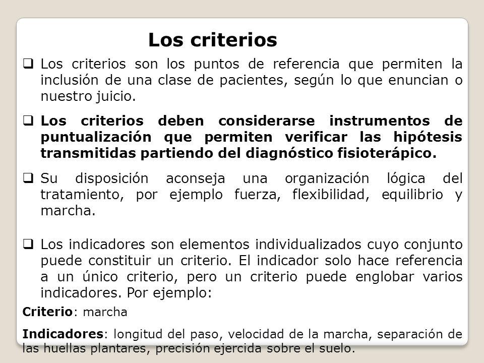 Los criterios son los puntos de referencia que permiten la inclusión de una clase de pacientes, según lo que enuncian o nuestro juicio. Los criterios