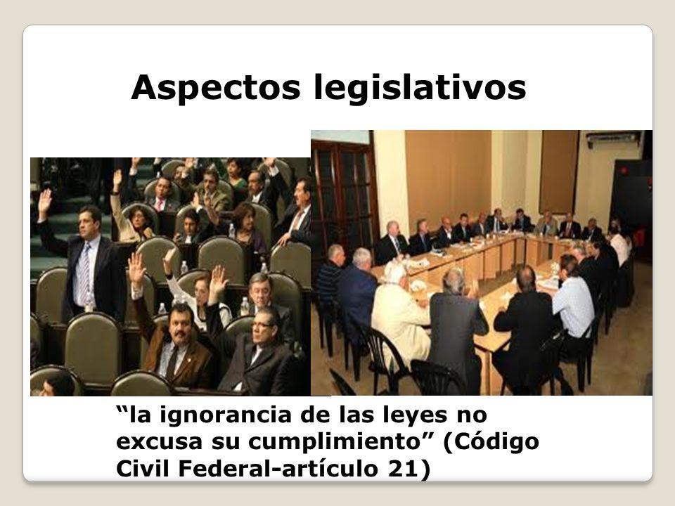 Aspectos legislativos la ignorancia de las leyes no excusa su cumplimiento (Código Civil Federal-artículo 21)