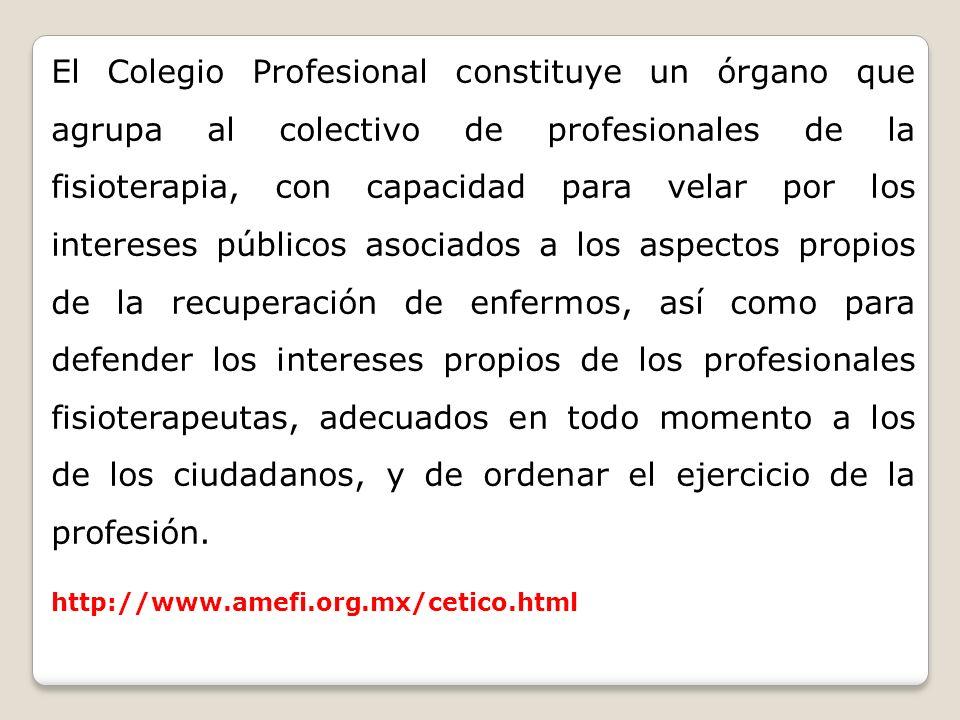 El Colegio Profesional constituye un órgano que agrupa al colectivo de profesionales de la fisioterapia, con capacidad para velar por los intereses pú