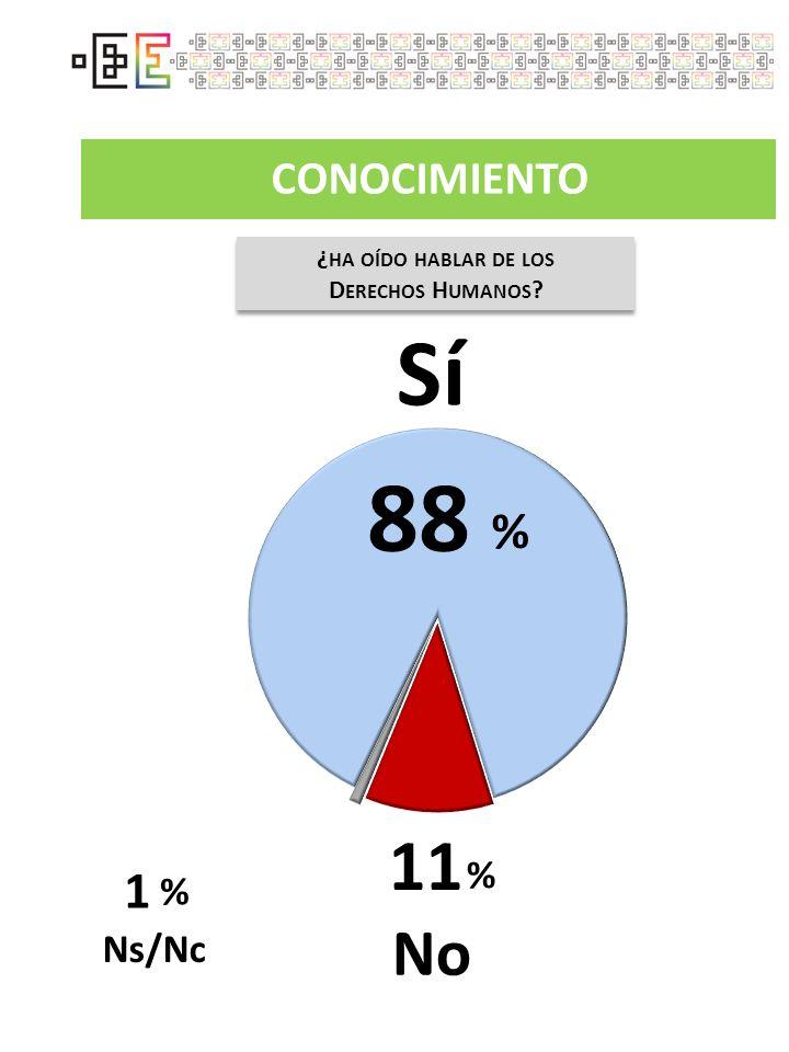 CONOCIMIENTO ¿ HA OÍDO HABLAR DE LOS D ERECHOS H UMANOS ? ¿ HA OÍDO HABLAR DE LOS D ERECHOS H UMANOS ? Sí 11 No % Ns/Nc 1 % 88 %