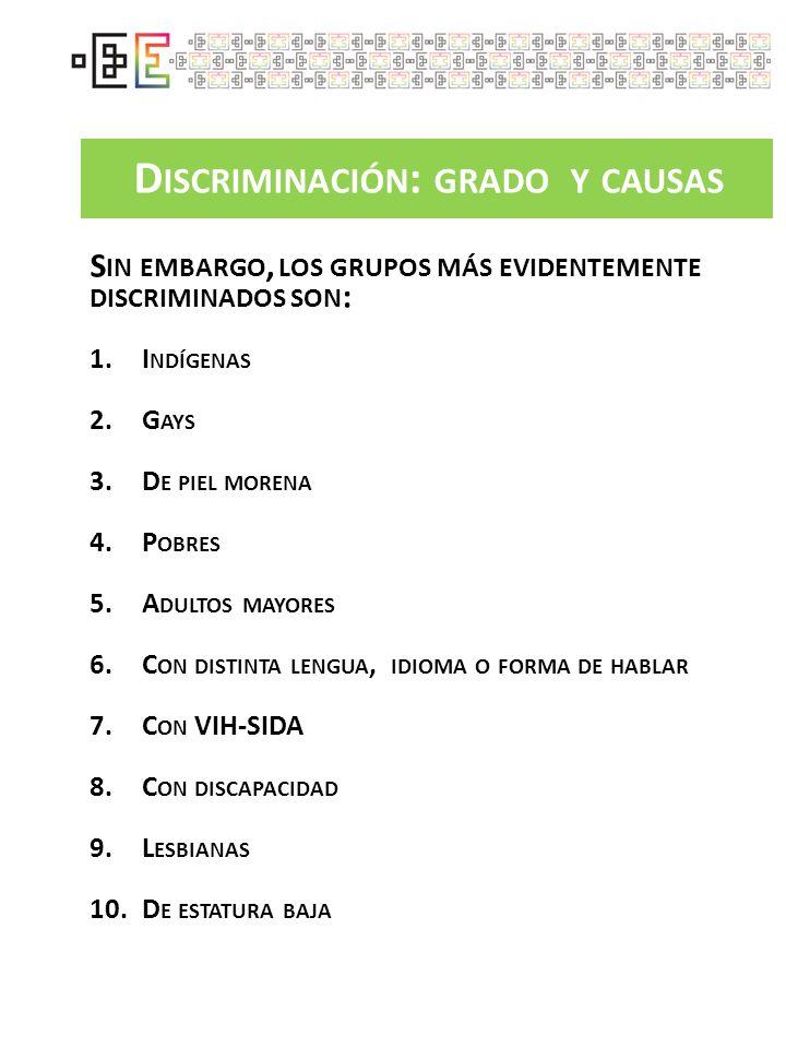 D ISCRIMINACIÓN : GRADO Y CAUSAS S IN EMBARGO, LOS GRUPOS MÁS EVIDENTEMENTE DISCRIMINADOS SON : 1.I NDÍGENAS 2.G AYS 3.D E PIEL MORENA 4.P OBRES 5.A D