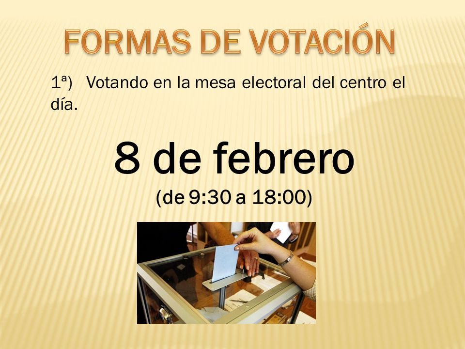 1ª) Votando en la mesa electoral del centro el día. 8 de febrero (de 9:30 a 18:00)