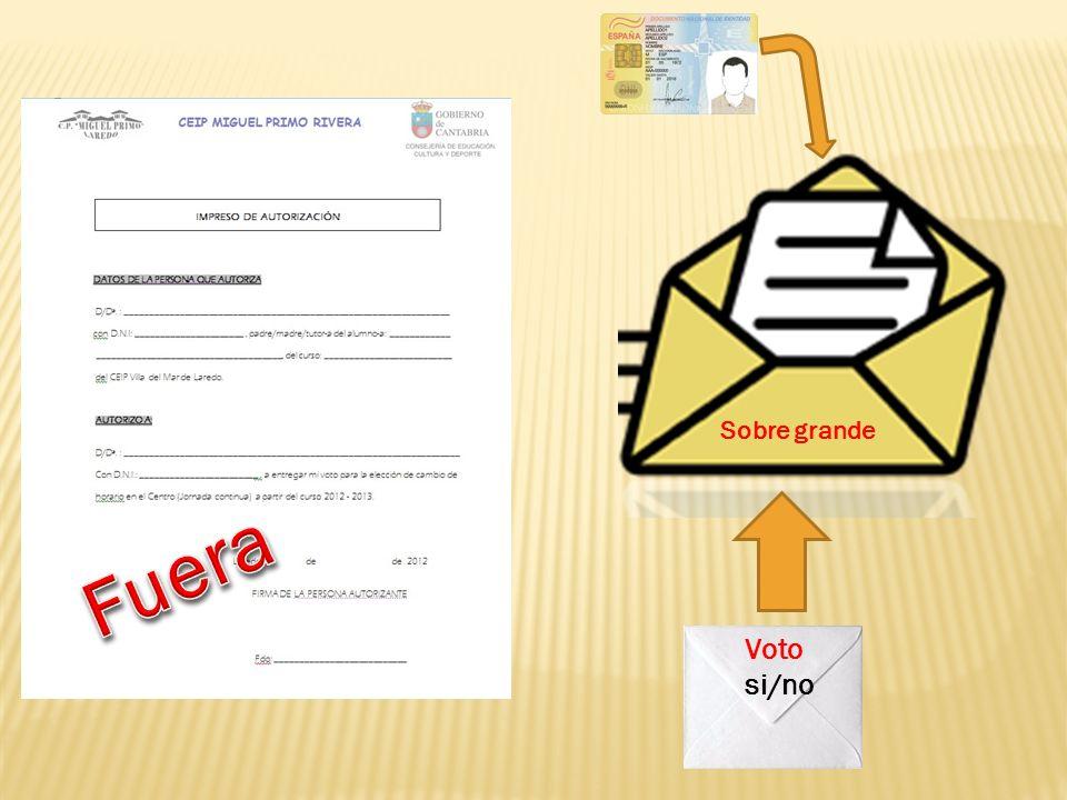 Voto si/no Sobre grande