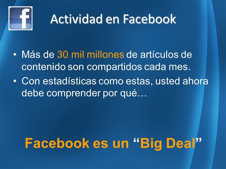 Más de 30 mil millones de artículos de contenido son compartidos cada mes.