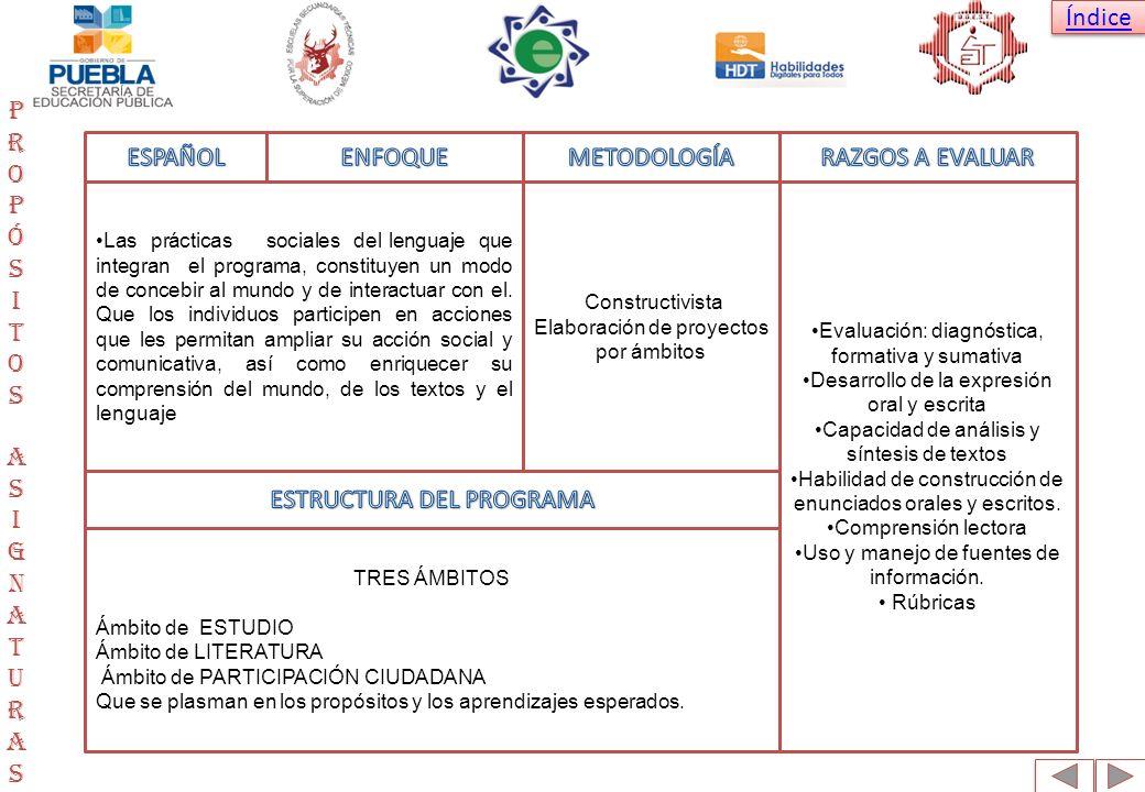 Índice PropósitosAsignaturasPropósitosAsignaturas Las prácticas sociales del lenguaje que integran el programa, constituyen un modo de concebir al mun