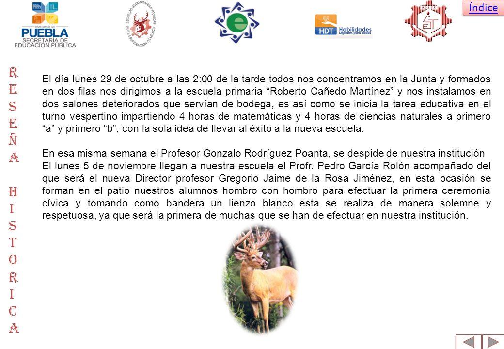 Índice Después de esa semana se incorpora al plantel: La Profesora Eva Lilia Palacios Santos y el profesor Carlos Pérez Atémiz en el área de Ciencias Sociales.