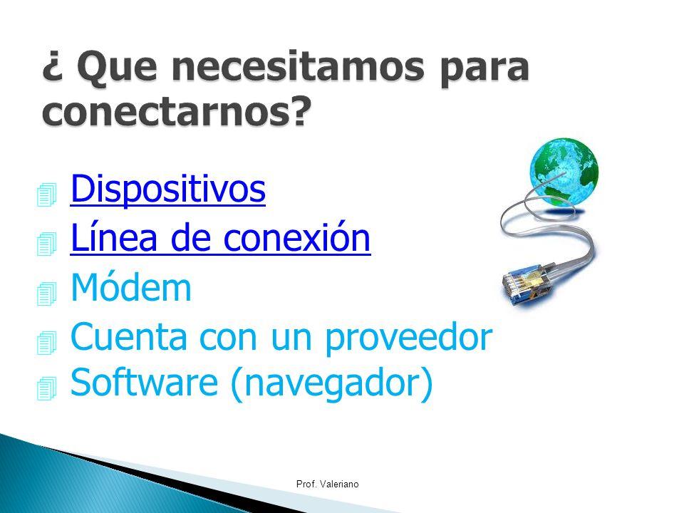 4 Dispositivos 4 Línea de conexión 4 Módem 4 Cuenta con un proveedor Software (navegador) Prof. Valeriano