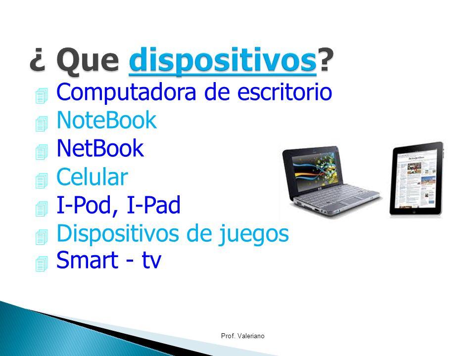 4 Computadora de escritorio 4 NoteBook 4 NetBook 4 Celular 4 I-Pod, I-Pad 4 Dispositivos de juegos Smart - tv Prof. Valeriano