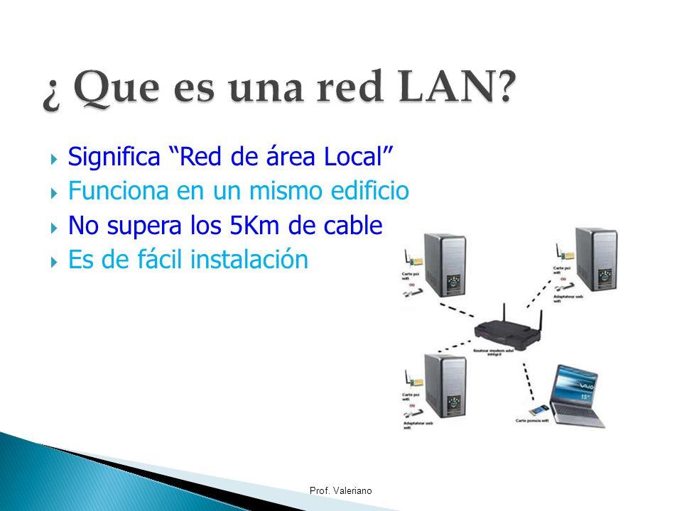 Significa Red de área Local Funciona en un mismo edificio No supera los 5Km de cable Es de fácil instalación Prof. Valeriano