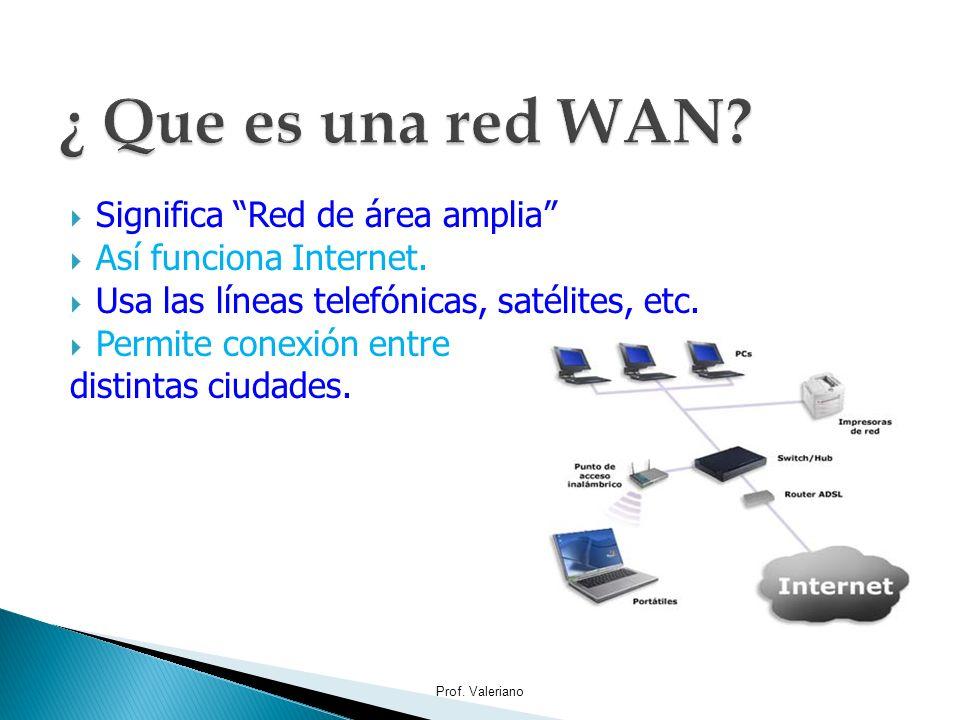 Significa Red de área amplia Así funciona Internet. Usa las líneas telefónicas, satélites, etc. Permite conexión entre distintas ciudades. Prof. Valer