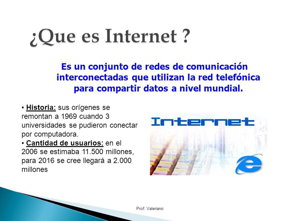 Es un conjunto de redes de comunicación interconectadas que utilizan la red telefónica para compartir datos a nivel mundial. Prof. Valeriano Historia: