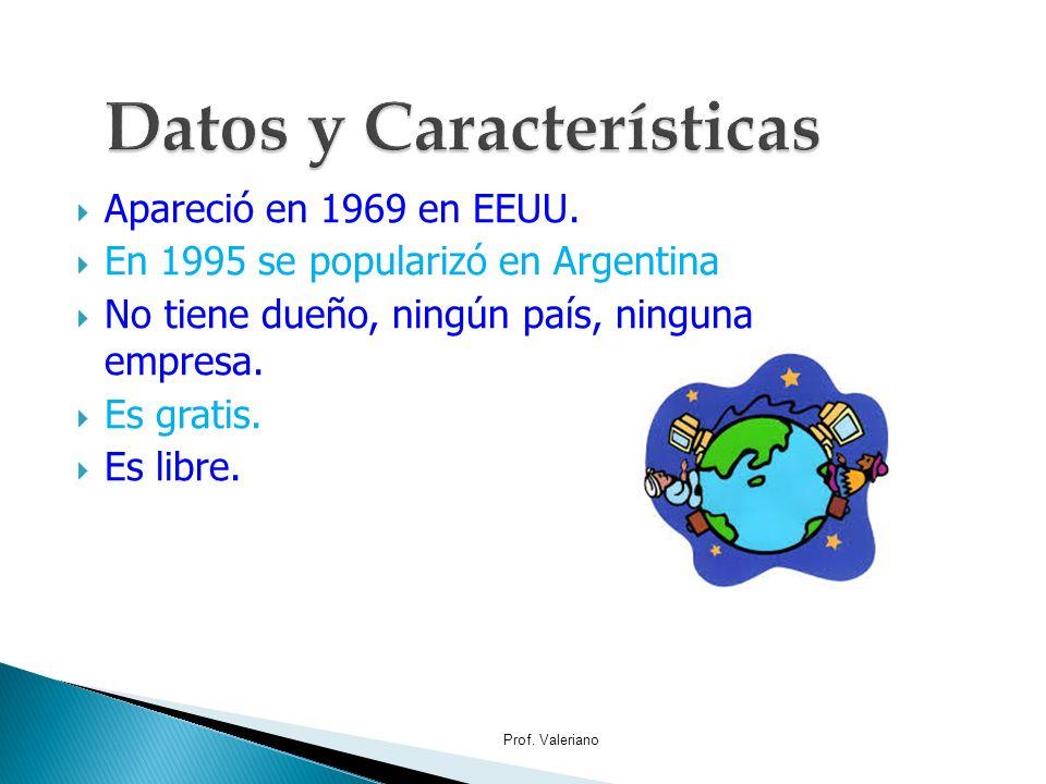 Apareció en 1969 en EEUU. En 1995 se popularizó en Argentina No tiene dueño, ningún país, ninguna empresa. Es gratis. Es libre. Prof. Valeriano