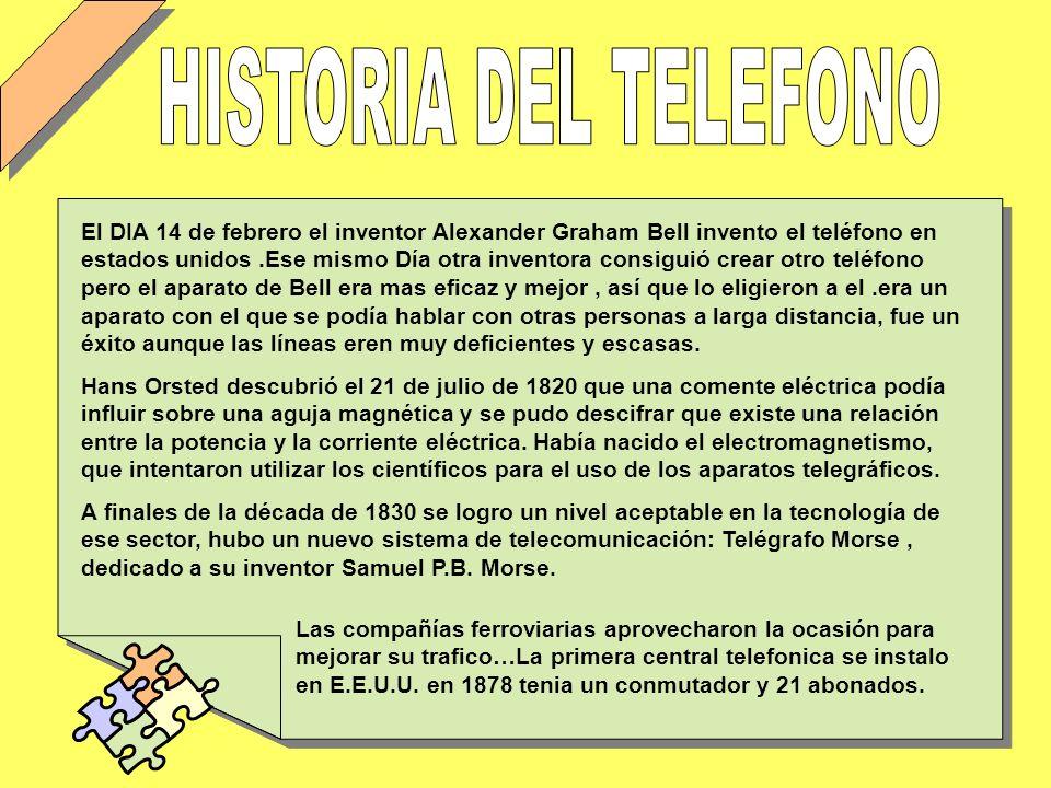 El DIA 14 de febrero el inventor Alexander Graham Bell invento el teléfono en estados unidos.Ese mismo Día otra inventora consiguió crear otro teléfon