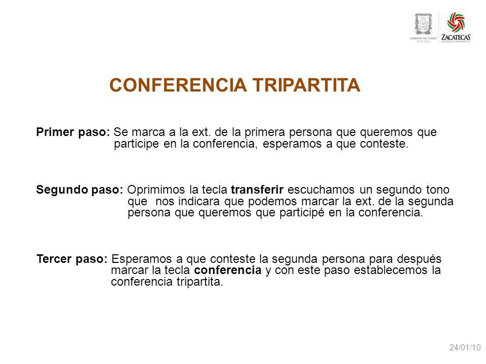 Primer paso: Se marca a la ext. de la primera persona que queremos que participe en la conferencia, esperamos a que conteste. Segundo paso: Oprimimos
