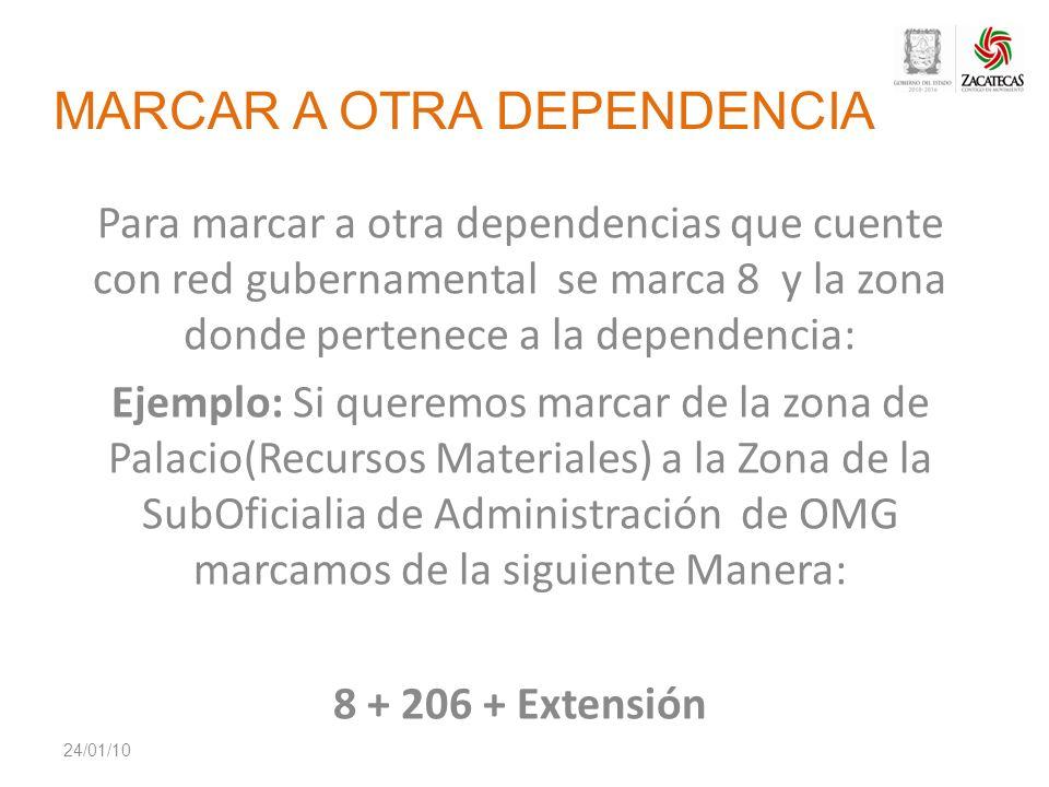 MARCAR A OTRA DEPENDENCIA Para marcar a otra dependencias que cuente con red gubernamental se marca 8 y la zona donde pertenece a la dependencia: Ejem