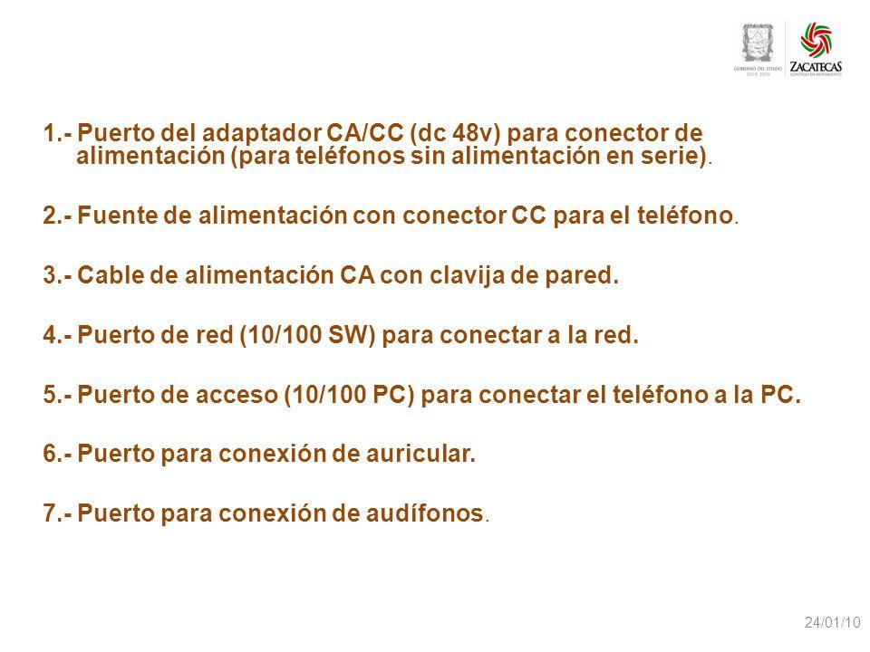 1.- Puerto del adaptador CA/CC (dc 48v) para conector de alimentación (para teléfonos sin alimentación en serie). 2.- Fuente de alimentación con conec