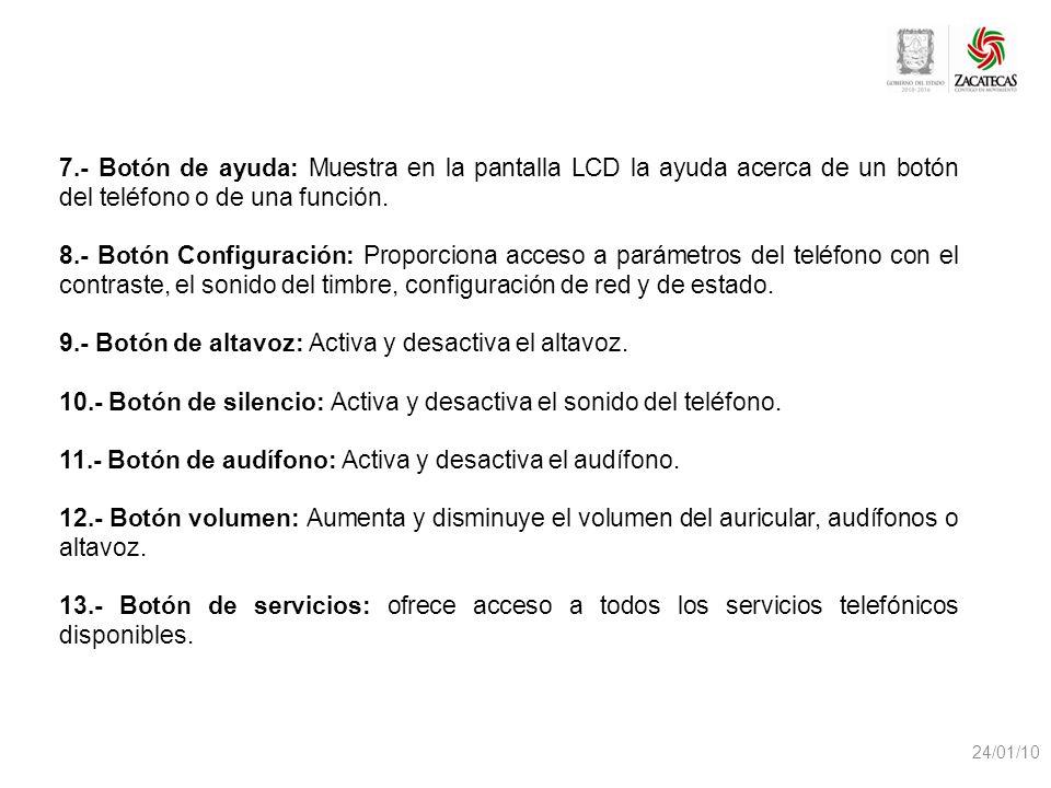 24/01/10 7.- Botón de ayuda: Muestra en la pantalla LCD la ayuda acerca de un botón del teléfono o de una función. 8.- Botón Configuración: Proporcion
