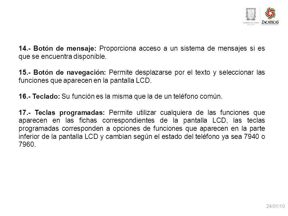 24/01/10 14.- Botón de mensaje: Proporciona acceso a un sistema de mensajes si es que se encuentra disponible. 15.- Botón de navegación: Permite despl
