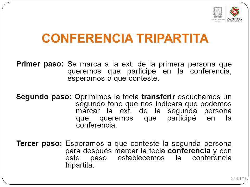 CONFERENCIA TRIPARTITA Primer paso: Se marca a la ext. de la primera persona que queremos que participe en la conferencia, esperamos a que conteste. S