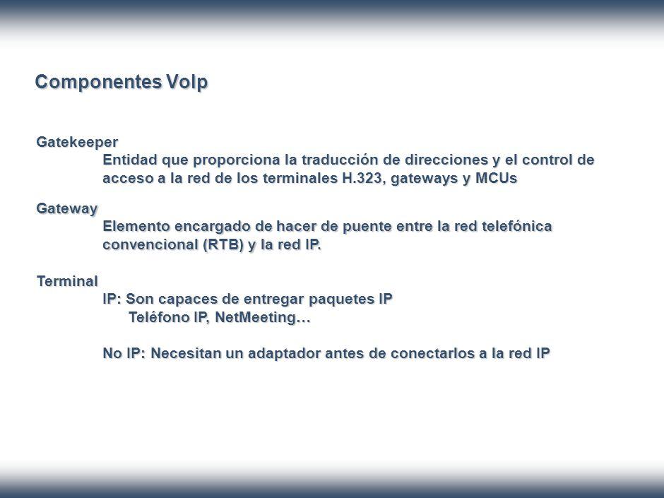 Componentes VoIp Gatekeeper Entidad que proporciona la traducción de direcciones y el control de acceso a la red de los terminales H.323, gateways y MCUs Gateway Elemento encargado de hacer de puente entre la red telefónica convencional (RTB) y la red IP.