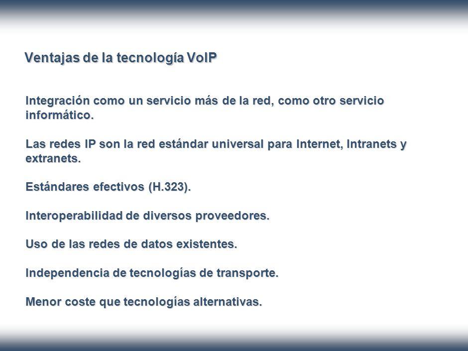 Ventajas de la tecnología VoIP Integración como un servicio más de la red, como otro servicio informático.