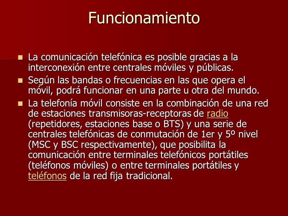 Funcionamiento La comunicación telefónica es posible gracias a la interconexión entre centrales móviles y públicas.