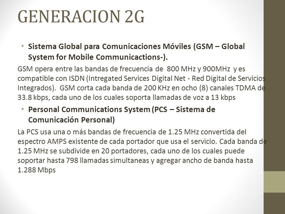 GENERACION 2G Sistema Global para Comunicaciones Móviles (GSM – Global System for Mobile Communicactions-). GSM opera entre las bandas de frecuencia d
