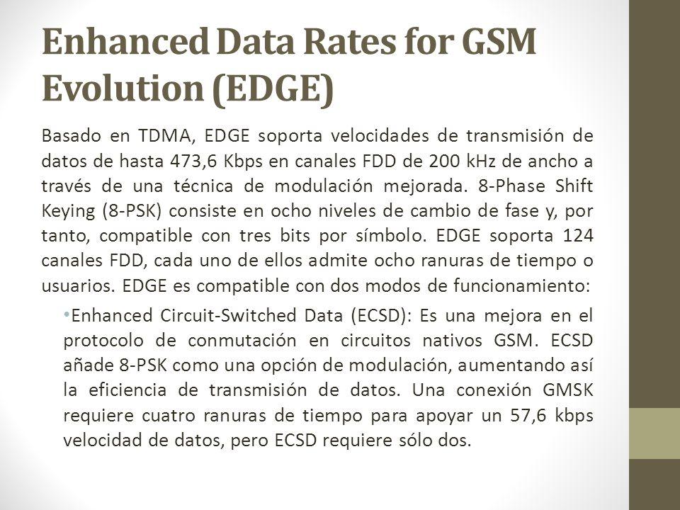 Enhanced Data Rates for GSM Evolution (EDGE) Basado en TDMA, EDGE soporta velocidades de transmisión de datos de hasta 473,6 Kbps en canales FDD de 20