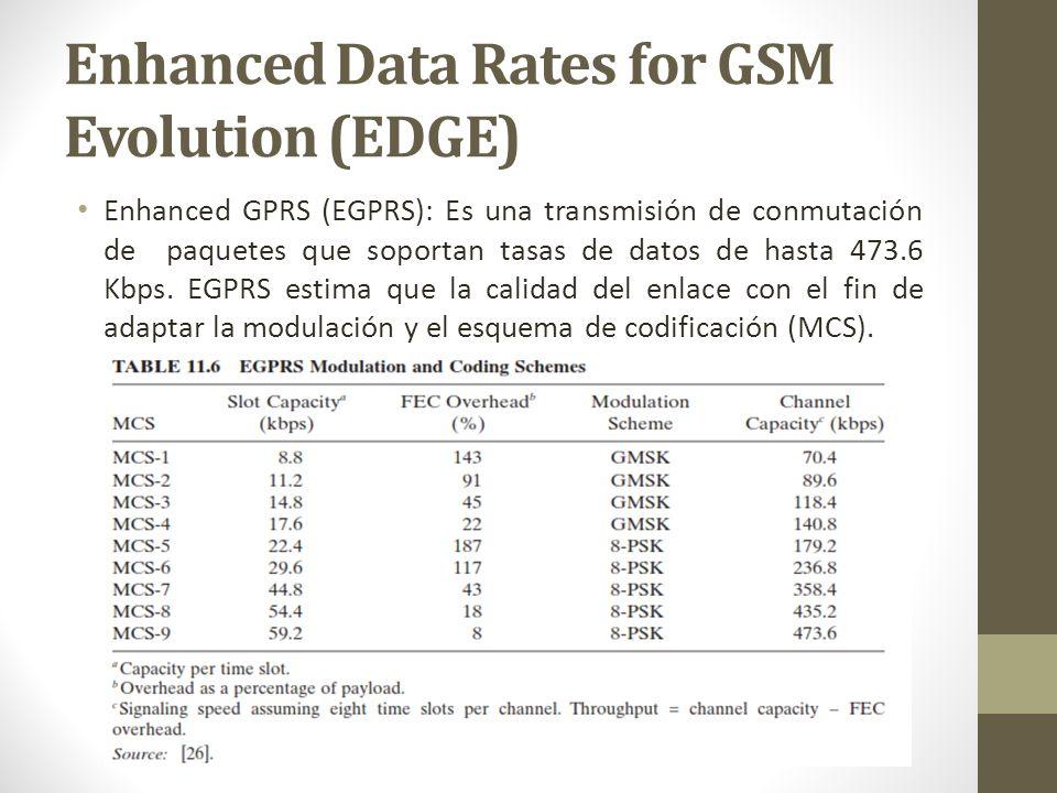 Enhanced GPRS (EGPRS): Es una transmisión de conmutación de paquetes que soportan tasas de datos de hasta 473.6 Kbps. EGPRS estima que la calidad del
