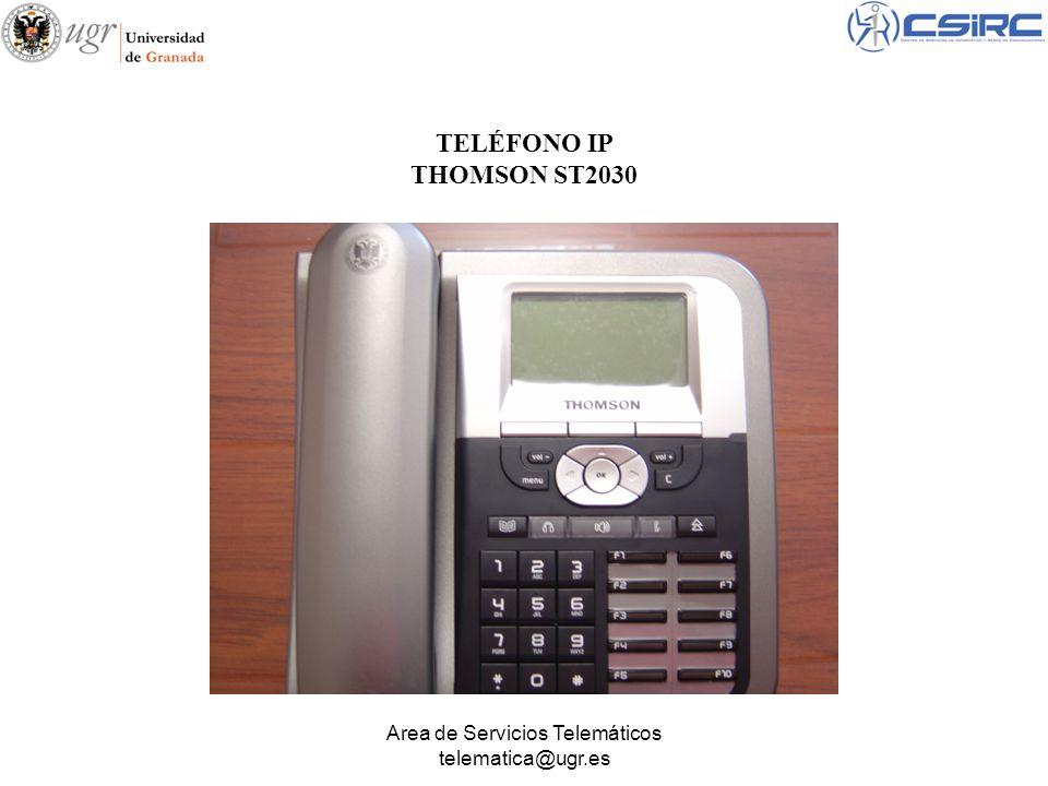 Area de Servicios Telemáticos telematica@ugr.es Acceso a la agenda de teléfonos Tecla de Auricular (Speaker).