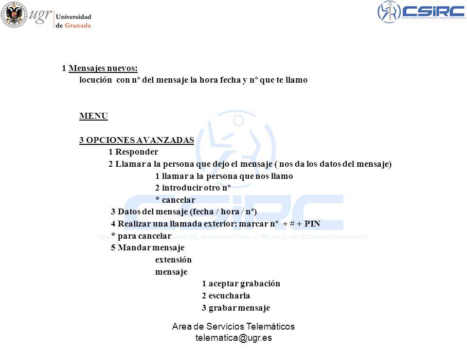 Area de Servicios Telemáticos telematica@ugr.es 1 Mensajes nuevos: locución con nº del mensaje la hora fecha y nº que te llamo MENU 3 OPCIONES AVANZAD