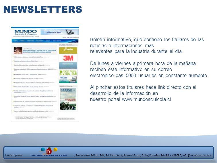 NEWSLETTERS Boletín informativo, que contiene los titulares de las noticias e informaciones más relevantes para la industria durante el día. De lunes