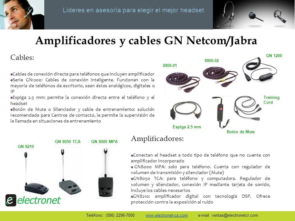 Líderes en asesoría para elegir el mejor headset Amplificadores y cables GN Netcom/Jabra Amplificadores: Conectan el headset a todo tipo de teléfono q