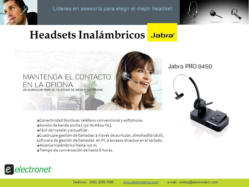 Líderes en asesoría para elegir el mejor headset Headsets Inalámbricos Conectividad Multiuso: teléfono convencional y softphone. Sonido de banda ancha