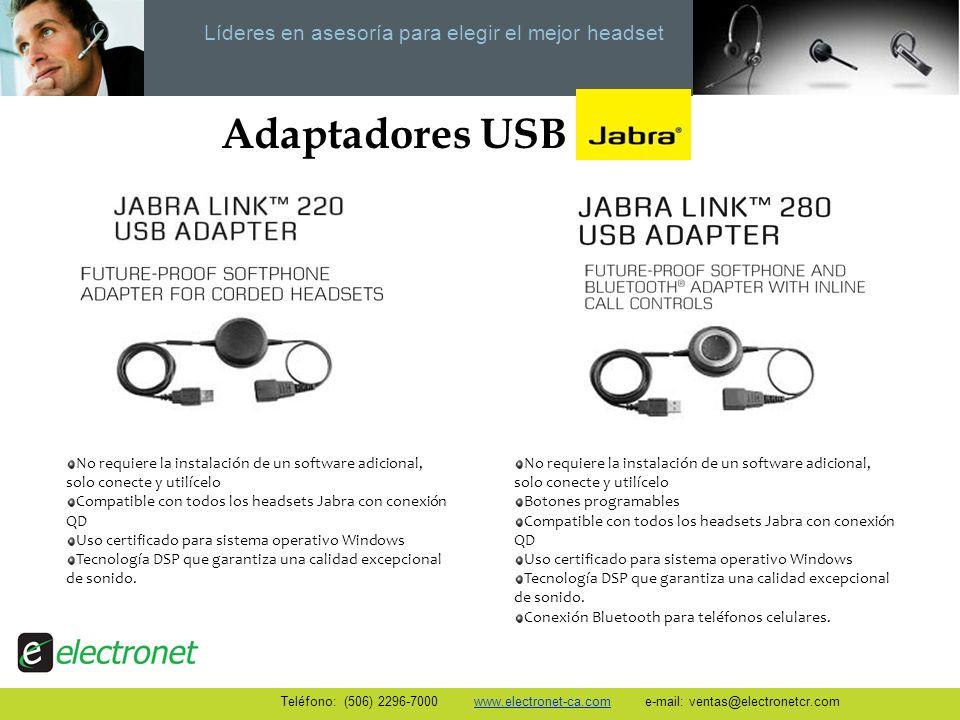 Líderes en asesoría para elegir el mejor headset Adaptadores USB No requiere la instalación de un software adicional, solo conecte y utilícelo Compati