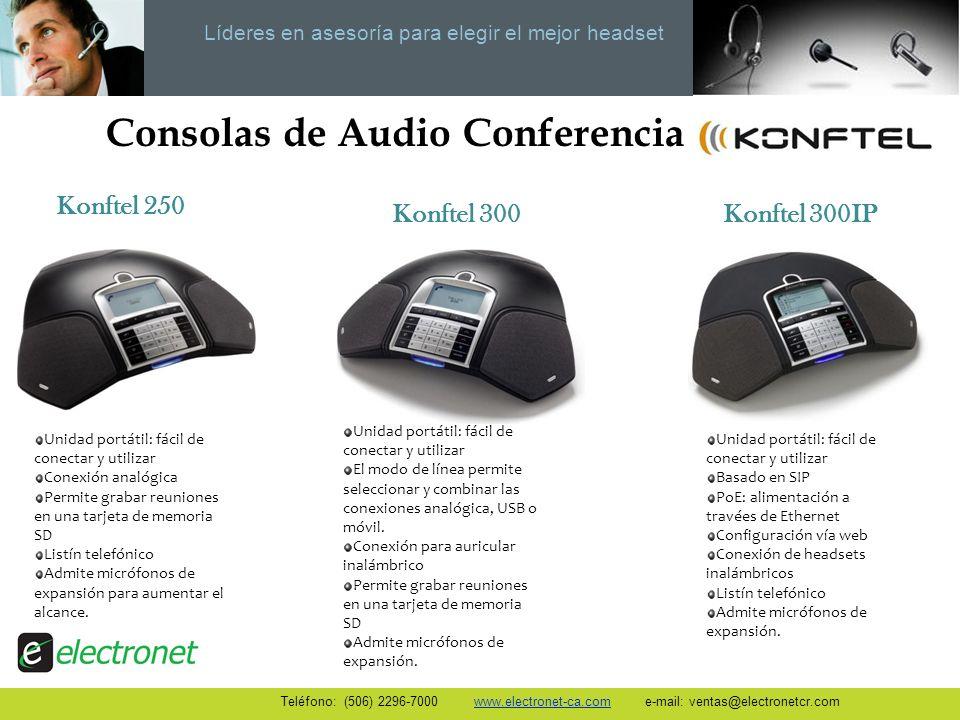 Líderes en asesoría para elegir el mejor headset Consolas de Audio Conferencia Unidad portátil: fácil de conectar y utilizar Conexión analógica Permit