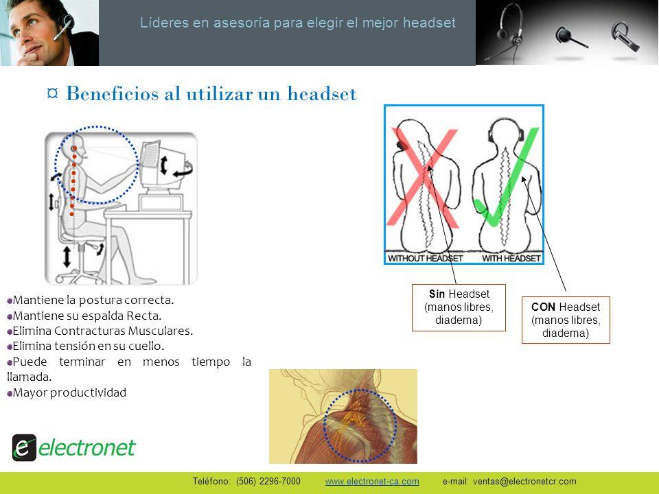 Líderes en asesoría para elegir el mejor headset Mantiene la postura correcta. Mantiene su espalda Recta. Elimina Contracturas Musculares. Elimina ten
