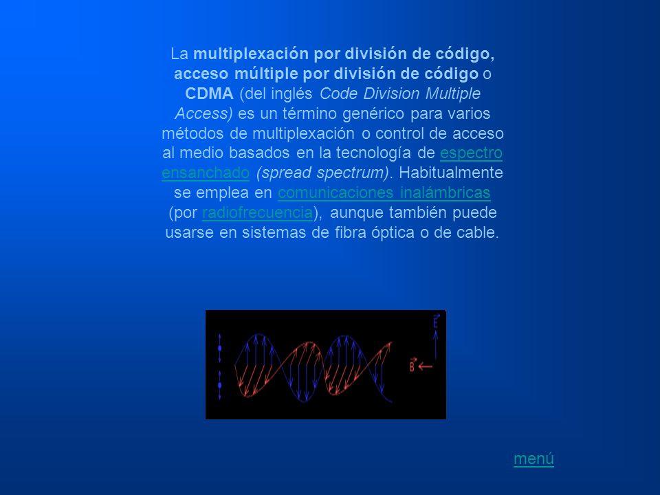 La multiplexación por división de código, acceso múltiple por división de código o CDMA (del inglés Code Division Multiple Access) es un término genér