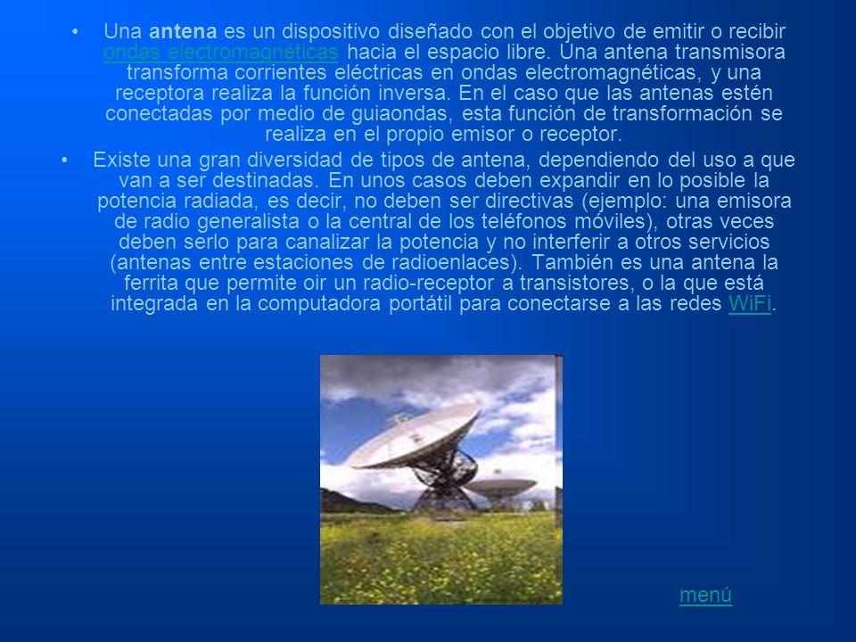Una antena es un dispositivo diseñado con el objetivo de emitir o recibir ondas electromagnéticas hacia el espacio libre. Una antena transmisora trans