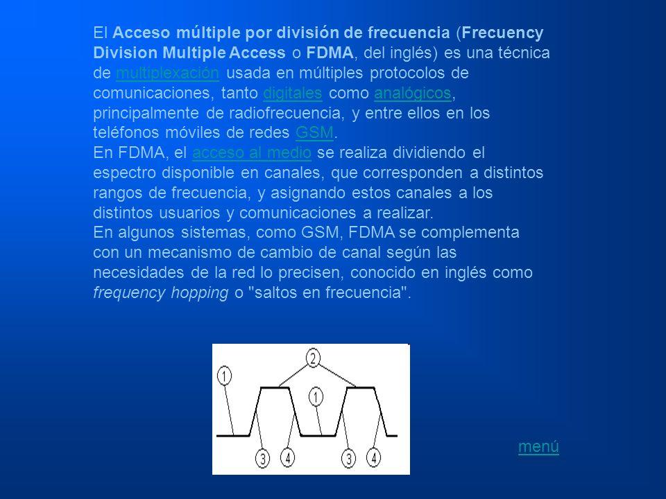 El Acceso múltiple por división de tiempo (Time Division Multiple Access o TDMA, del inglés) es una técnica de multiplexación que distribuye las unidades de información en ranuras ( slots ) alternas de tiempo, proveyendo acceso múltiple a un reducido número de frecuencias.multiplexación Tambien se podria decir que es un proceso digitalque se puede aplicar cuando la capacidad de la tasa de datos de la transmision es mayor que la tasa de datos necesaria requerida por los dispositivos emisores y receptores.
