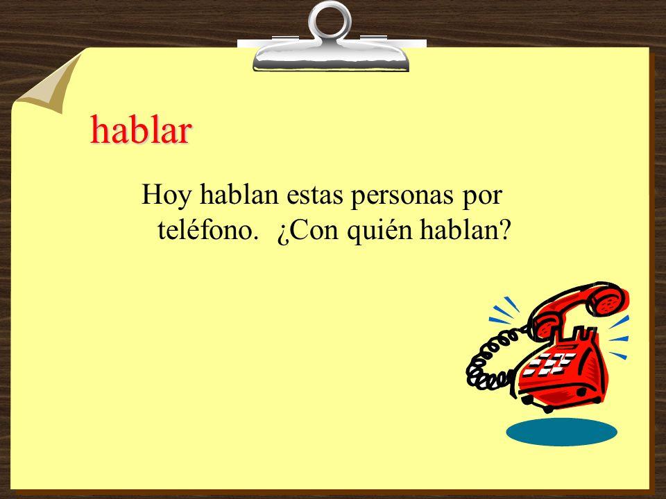 hablo hablas habla hablamos habláis hablan Yo __________ por teléfono con Sara.