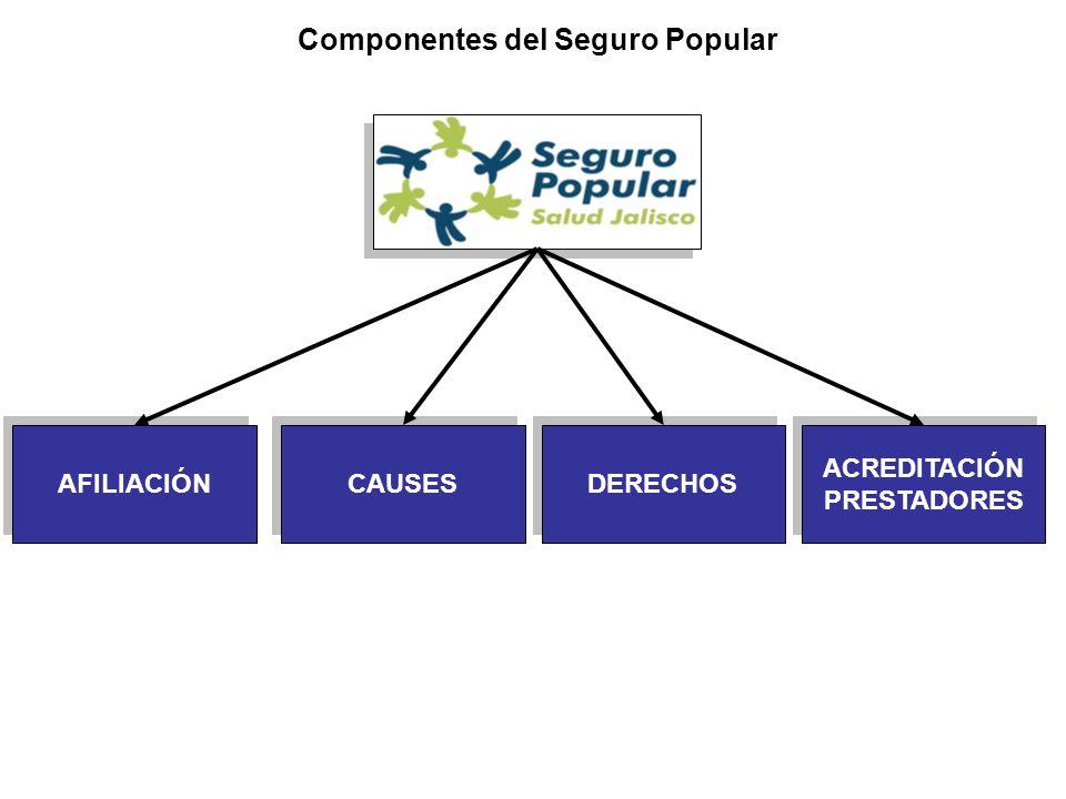 Componentes del Seguro Popular AFILIACIÓN ACREDITACIÓN PRESTADORES CAUSES DERECHOS